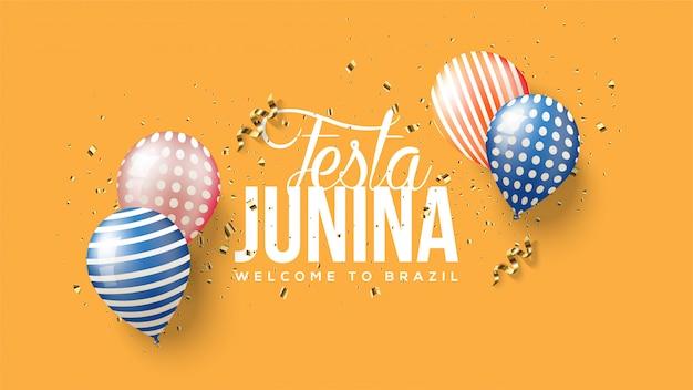 Festa junina ilustração com quatro balões 3d coloridos.