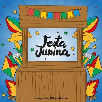 Festa, junina, levantar, fundo, mão, desenhado, decoração