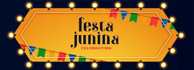 Festa junina luzes decoração celebração banner