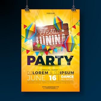 Festa junina party flyer design com placa de madeira vintage