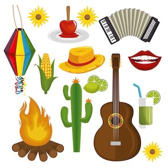 Festa junina relacionados objetos sobre ilustração vetorial de fundo branco