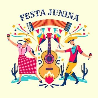 Festa junina violão e pessoas festejando