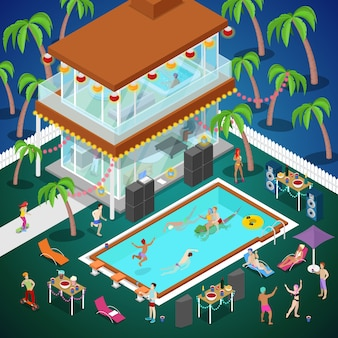 Festa na piscina ao ar livre