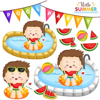 Festa na piscina de melancia