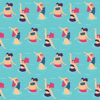 Festa na piscina de mulher ativa padrão sem costura plana