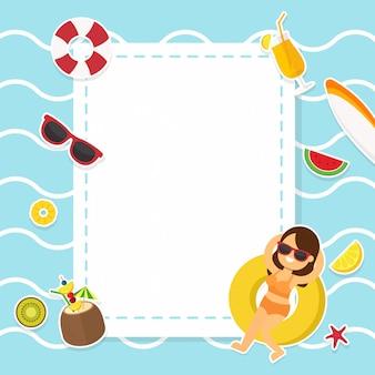 Festa na piscina de verão para moldura de fundo decorada com acessórios e atividade praia