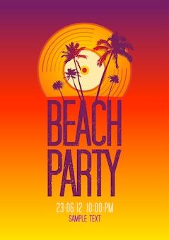 Festa na praia com modelo de design de vinil
