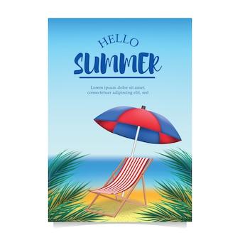 Festa na praia de verão com cadeira de praia e guarda-chuva