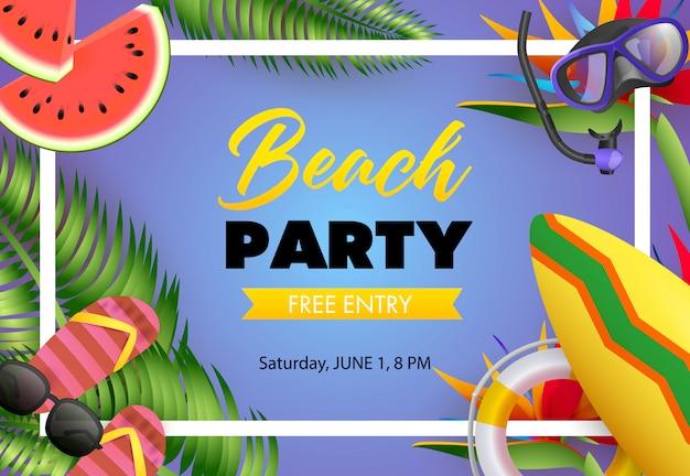 Festa na praia, design de cartaz de entrada gratuita. sandálias de dedo