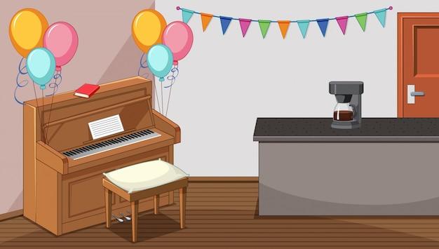 Festa na sala de estar com piano e máquina de café