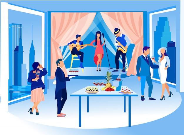 Festa no centro de exposições. recepcionista e músico