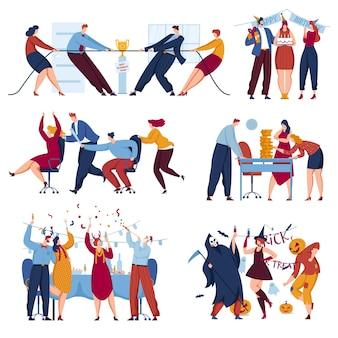 Festa no escritório de negócios definir ilustração vetorial personagem de pessoas planas felizes em celebração corporativa isolado no branco mulher homem feliz aniversário