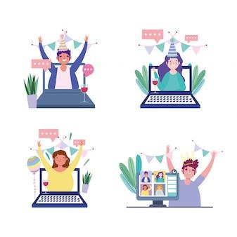 Festa on-line, aniversário ou encontro de amigos, personagem comemorando o auto-isolamento on-line