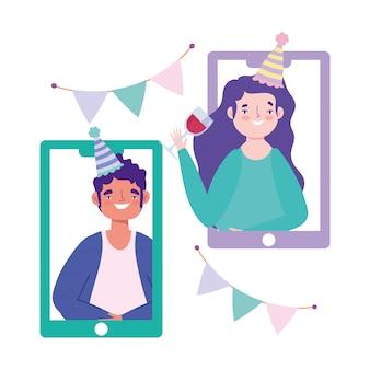 Festa on-line, aniversário ou encontro de amigos, videochamada de smartphones durante a celebração do auto-isolamento