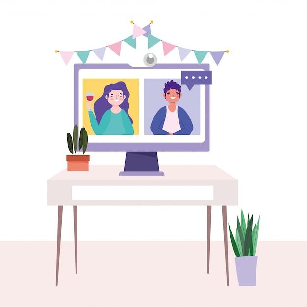 Festa on-line, aniversário ou reunião de amigos, computador de vídeo de homem e mulher na celebração da mesa
