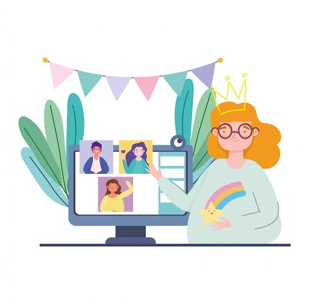 Festa on-line, aniversário ou reunião de amigos, jovem mulher com celebração de webcam de computador