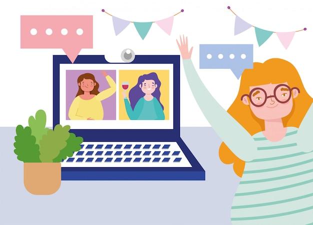 Festa on-line, aniversário ou reunião de amigos, mulheres felizes amigas celebração laptop webcam tecnologia