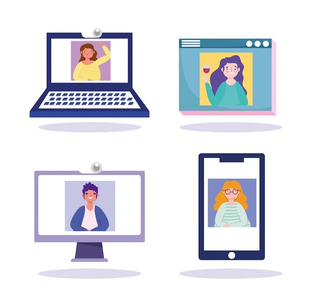 Festa on-line, aniversário ou reunião de amigos, pessoas vídeo computador smartphone laptop site conexão