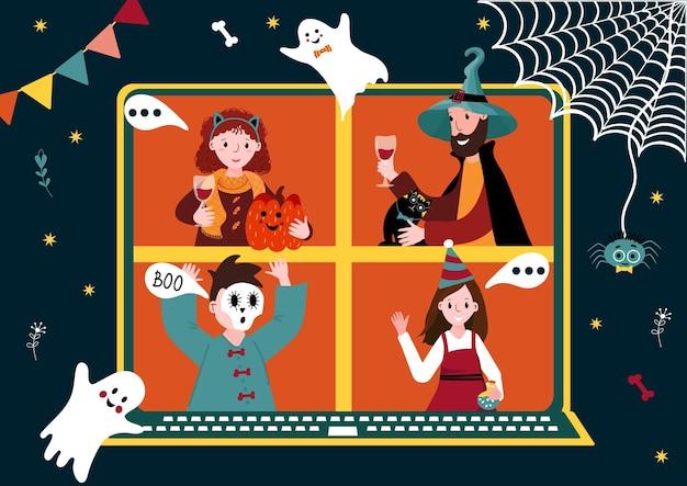Festa on-line do dia das bruxas grupo de encontro virtual comemorando pessoas fantasiadas fazem videoconferência