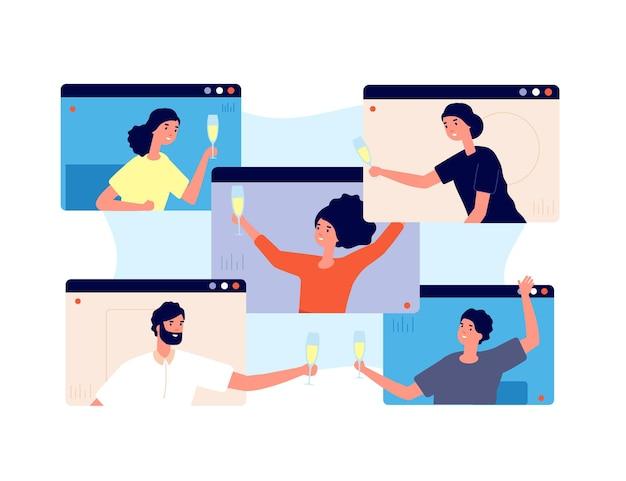 Festa online. amigos comemoram aniversário, encontro isolado ou quarentena. tecnologia de vídeo, conceito de vetor de tela de bebidas de grupo de pessoas. reunião por chamada online, ilustração de videoconferência na internet