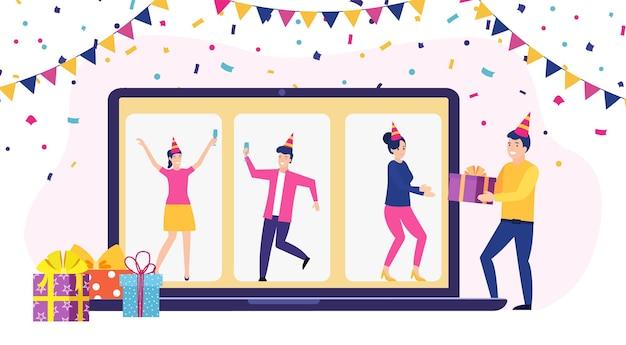 Festa online, aniversário, encontrar amigos.