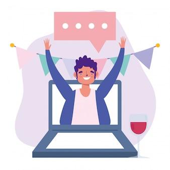 Festa online, aniversário ou reunião de amigos, homem com copo de vinho na ilustração de celebração de laptop