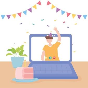 Festa online, jovem acenando com a mão em videochamada no laptop