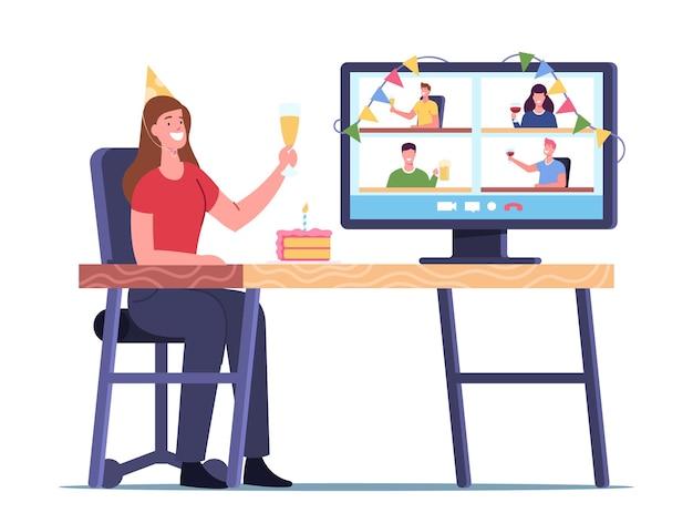 Festa online, jovem personagem feminina segurando taça com champanhe comemore o feriado e se comunicando com amigos de casa pela internet durante a quarentena de covid