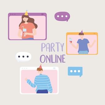 Festa online, jovens falam ilustração vetorial de personagens bolha