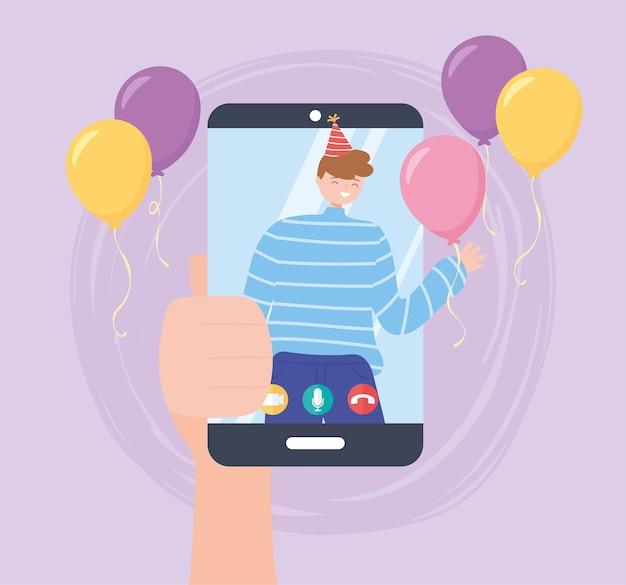 Festa online, mão segurando smartphone com homem comemorando