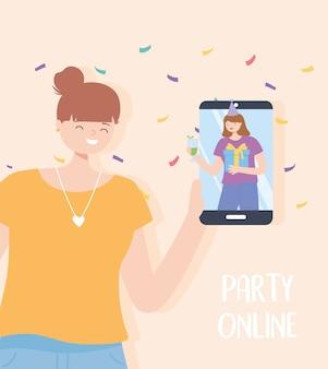 Festa online, mulher com smartphone falando com amigo por ilustração vetorial de festa de celebração de internet