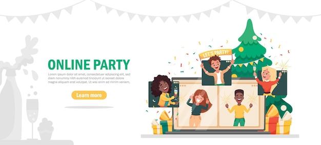 Festa online virtual reveillon pessoas celebrando via videochamada com amigos, encontro online. ilustração plana dos desenhos animados.