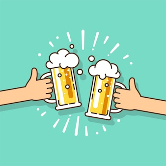 Festa ou festa da cerveja com as duas mãos segurando o copo de cerveja