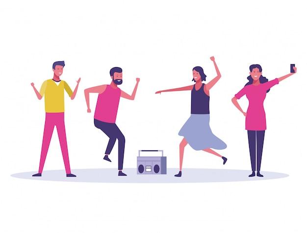 Festa, pessoas, dançar