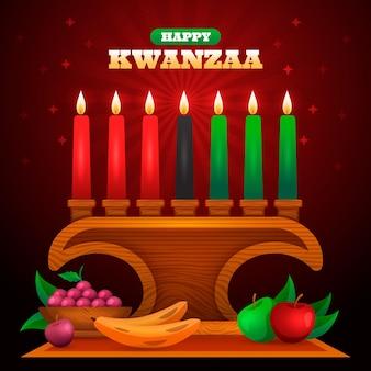 Festa realística de kwanzaa com velas