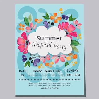 Festa tropical de verão praia onda fundo aquarela cartaz ilustração