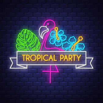 Festa tropical. letras de sinal de néon