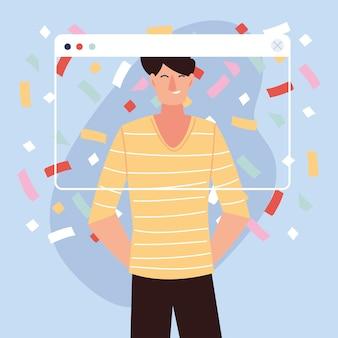 Festa virtual com desenho de homem e confetes no design de tela, feliz aniversário e chat de vídeo