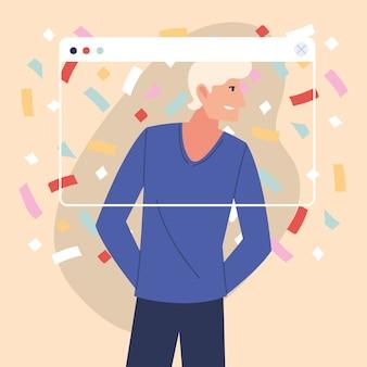 Festa virtual com desenho de homem loiro e confetes no design de tela, feliz aniversário e chat de vídeo