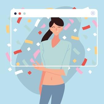 Festa virtual com desenho de mulher e confetes no design de tela, feliz aniversário e chat de vídeo