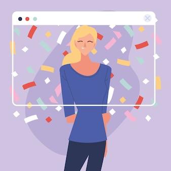 Festa virtual com desenho de mulher loira e confetes no design de tela, feliz aniversário e chat de vídeo