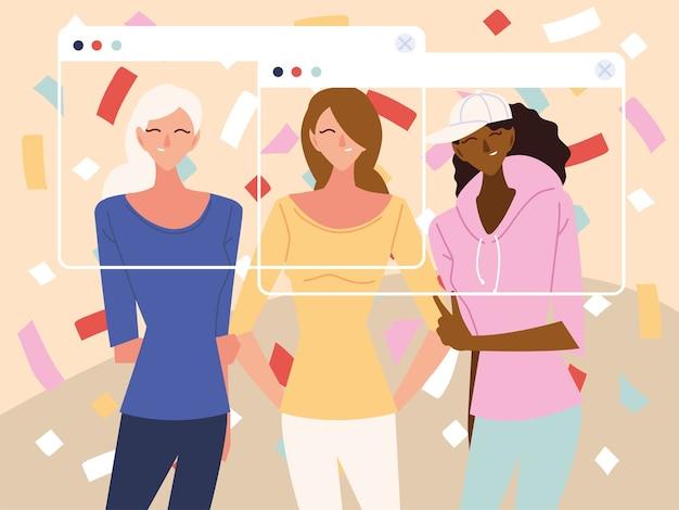 Festa virtual com desenhos animados femininos e confetes em design de telas, feliz aniversario e video chat