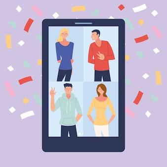 Festa virtual com desenhos animados homens mulheres em design de smartphone e confete, feliz aniversário e chat de vídeo