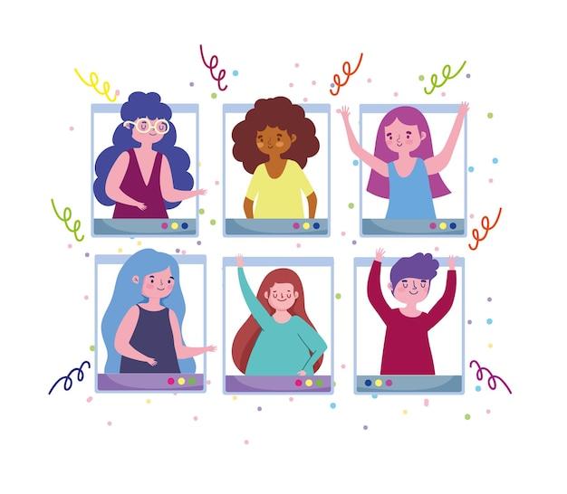 Festa virtual, jovens videochamada reunião celebração ilustração festiva