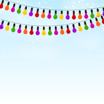 Festão de luzes coloridas no fundo festivo azul. ilustração vetorial