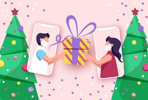 Festeje uma videochamada online amigos celebram o natal e o ano novo