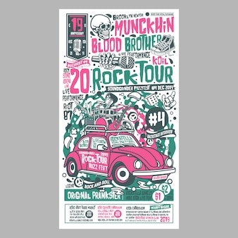 Festivais de cartazes de turnê rock