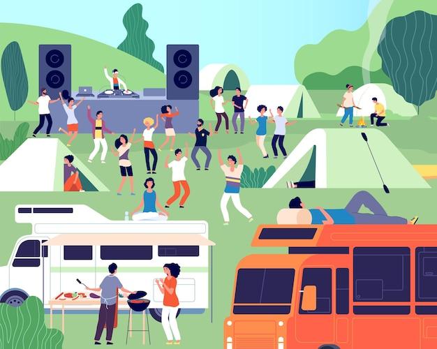 Festival ao ar livre. performance musical, concerto no parque ou acampamento. palco de dj ao ar livre, pessoas e barracas. evento de música na ilustração vetorial de natureza. concerto do festival, verão ao ar livre, música e food truck