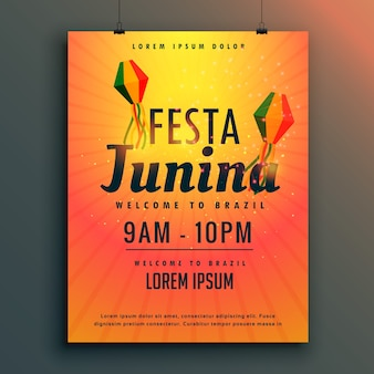 Festival brasileiro de festa junina poster design template