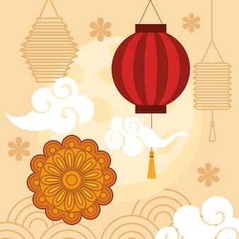 Festival chinês de meados do outono com lanternas penduradas, bolo lunar, nuvens e flores